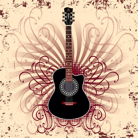 banner with acoustic guitar on beige background Vector