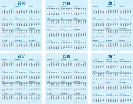 calendar grid for 2014, 2015, 2016, 2017, 2018, 2019 Vector