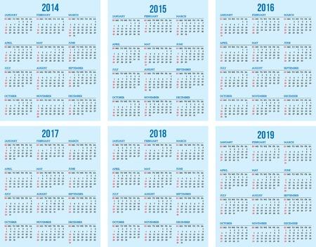 calendar grid for 2014, 2015, 2016, 2017, 2018, 2019 Stock Vector - 23377501