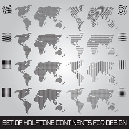 Set of vector halftone continents for design Vector