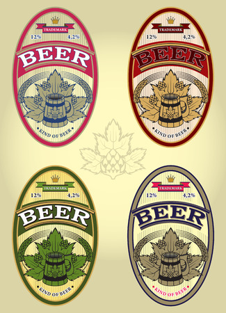 set of four oval vector labels for beer Vector