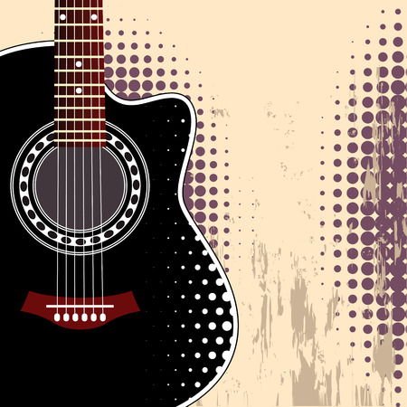 acoustic guitar: Vector grungy background with black acoustic guitar