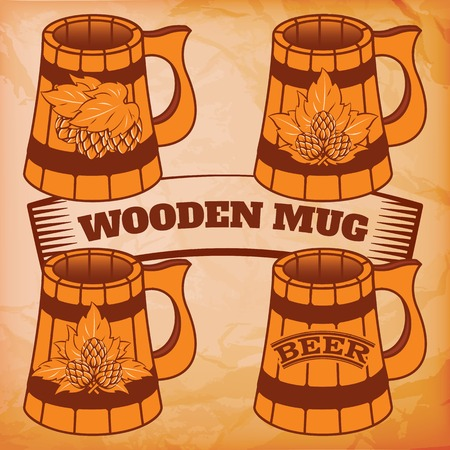 rasterized: vector set of wooden mugs for beer with hops