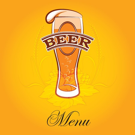 vector glass of beer on a yellow background for the menu Vector