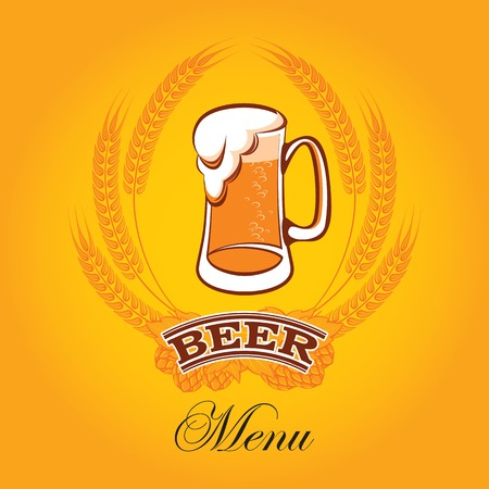 vector glass of beer on a yellow background for the menu Stock Vector - 24328223