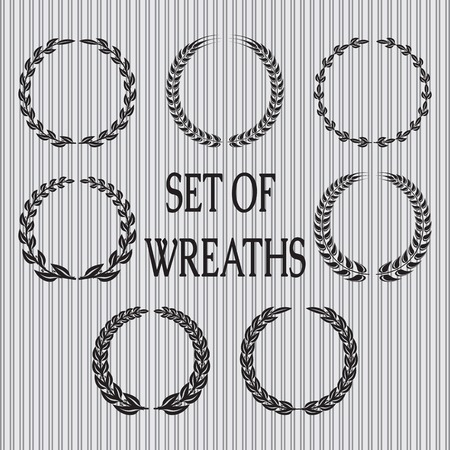 vector set  of wreaths with laurel leaves and spikelets 向量圖像