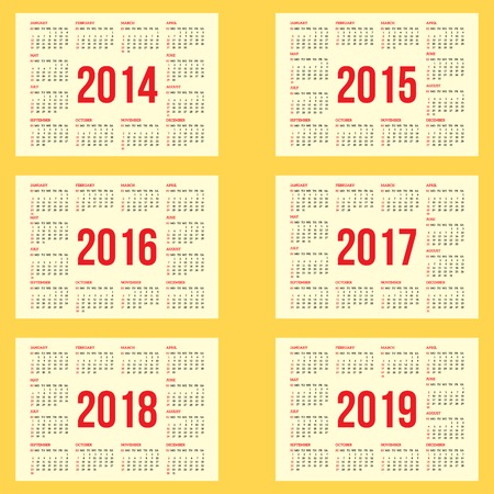 calendar grid for 2014, 2015, 2016, 2017, 2018, 2019 Vector