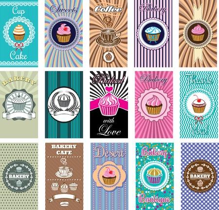 cakes background: conjunto de tarjetas de visita para la panader�a, el caf�
