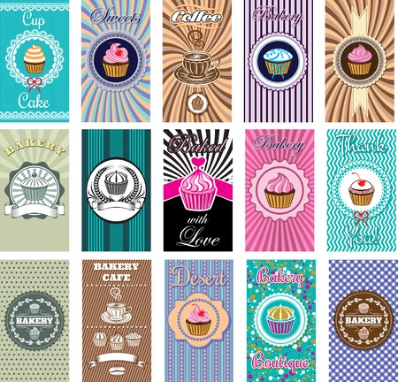 set of business cards for bakery, coffee
