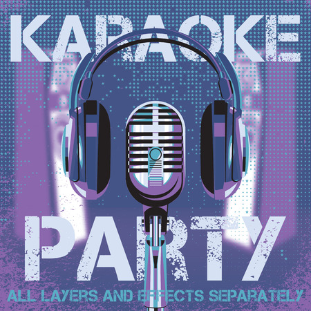 volume  background: vector with microphone and headphones for karaoke party