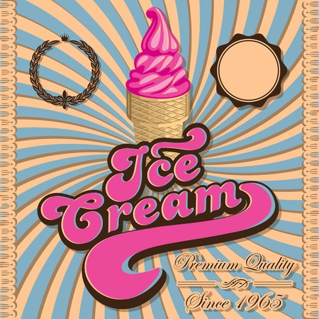 waffle ice cream: Vintage vector background with ice cream and inscriptions