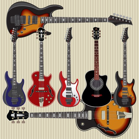 set of vector guitars on striped background