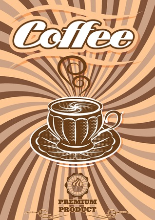 coffee house: vector label for coffee on background with sacking Illustration