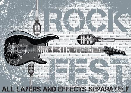 ギターのマイクを使ってロック フェスティバルのデザイン テンプレート  イラスト・ベクター素材
