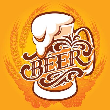 cerveza negra: vidrio vector de cerveza en un fondo amarillo para el men�