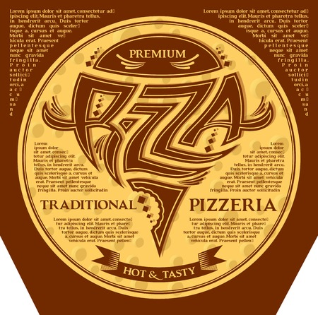 packing box for pizza with inscriptions and emblem Vector