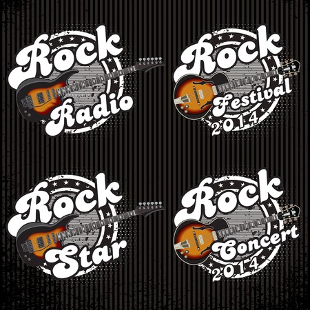 electric guitars: set of vector icons with guitars and various inscriptions Illustration