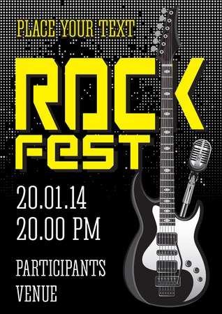 Rockfestival Design-Vorlage mit Gitarre Mikrofon Standard-Bild - 25134892