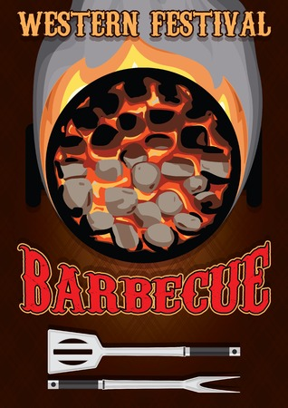 fire place: retro poster with hot coals for barbecue Illustration
