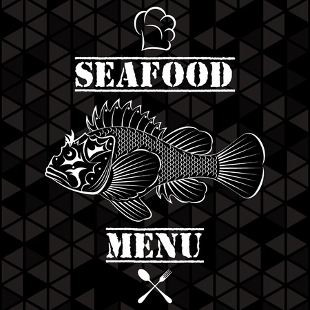 Banner with vector fish for the restaurant menu Vector