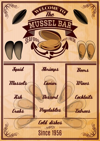 menu template with mussels for seafood restaurant Illustration