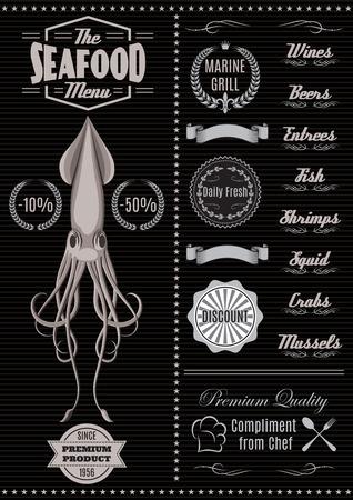 menu sjabloon met inktvis voor visrestaurant