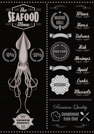 menu template with squid for seafood restaurant