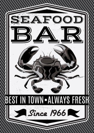 Banner with Vector crab for restaurant menu Vector