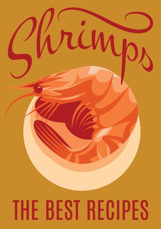 krill: retro poster with inscription and shrimp for restaurants
