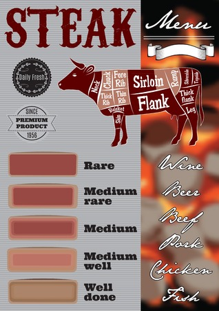 animal blood: menu template for grilling with steaks and cow