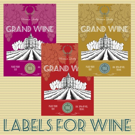 set of labels for wine with grapes Vector