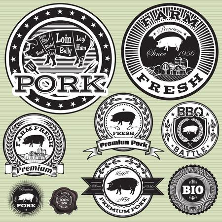 jabali: conjunto de etiquetas con cerdo y carne de cerdo Vectores