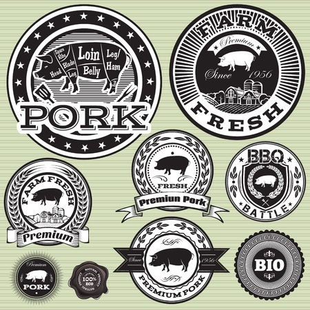 Set von Etiketten mit Schweine-und Schweinefleisch Standard-Bild - 26058106