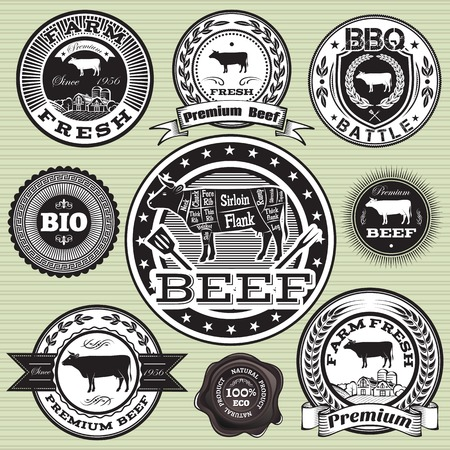 vector set of labels with cow and beef