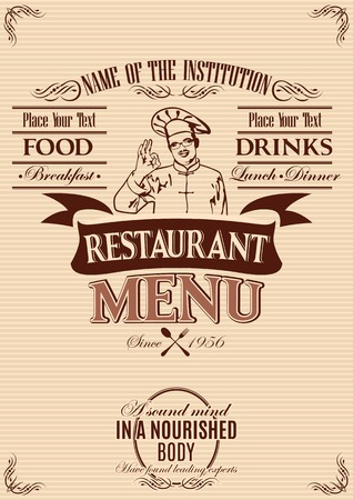 template for the cover of menu with chef