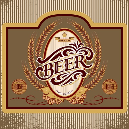 brewery  hops: vector oval label with ornament inscription for beer Illustration