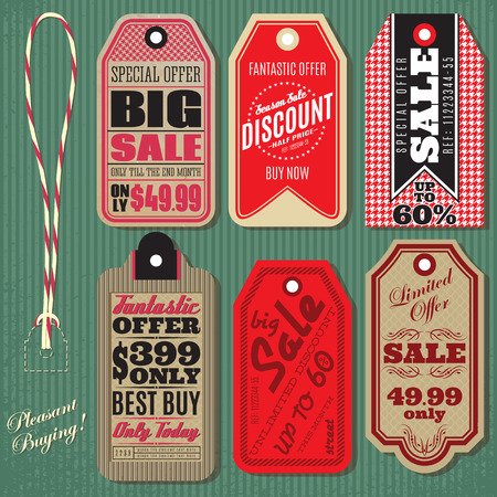 hang tag: vector set of Vintage Style Sale Tags Design