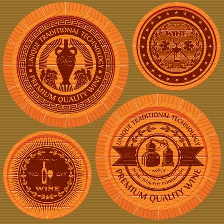 casks: vector set of labels with wine on wooden casks
