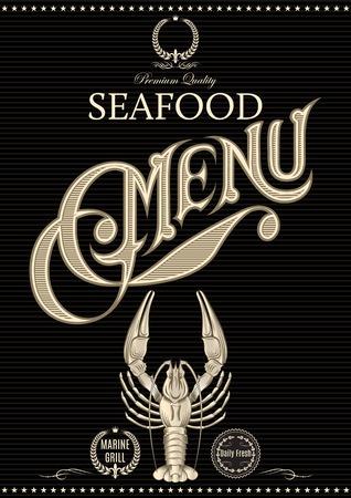 vector sjabloon voor restaurant menu met langoesten