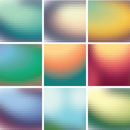 set of colorful mosaic background of triangles Vector
