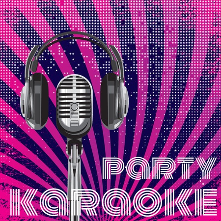 background with microphone and headphones for karaoke party 向量圖像