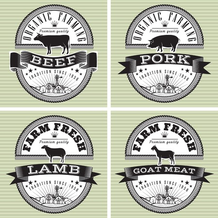 icons on vintage background pig, cow, sheep, goat Ilustração