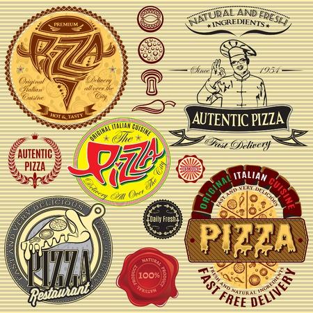 conjunto de iconos en un tema de un restaurante de entrega de pizza