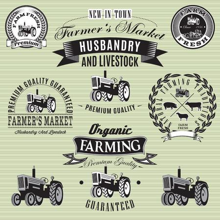 Reihe von Vektor-Etiketten mit einem Traktor für Vieh und Ernte Standard-Bild - 26964158