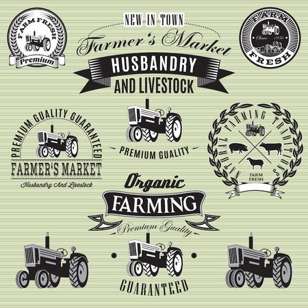 crops: set of vector labels with a tractor for livestock and crop