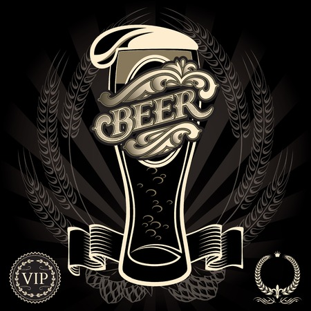 black beer: vector glass of beer on a black background for the menu
