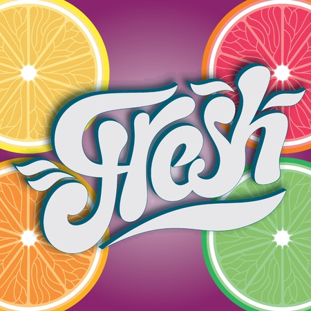 vector calligraphic inscription for fresh juice end water Vector