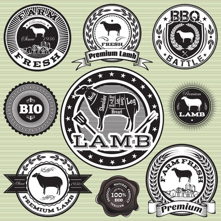vector set of labels with Sheep and lamb Vector