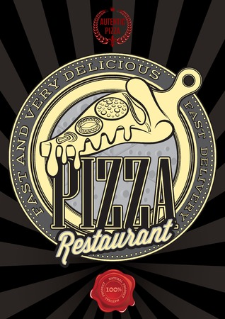 vector poster with the emblem pizza and an inscription Vector