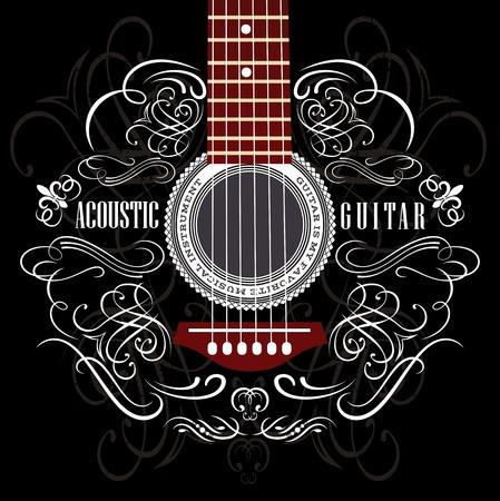 검은 어쿠스틱 기타와 지저분한 배경